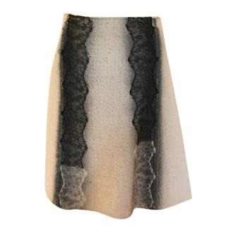 Bottega Veneta Lace Panelled A-Line Wool Blend Skirt