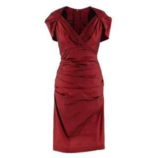 Talbot Runhof Red Ruched Capelet Cap Sleeve Dress