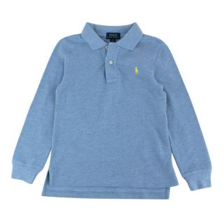 Polo Ralph Lauren Blue Cotton Long Sleeve Polo Shirt
