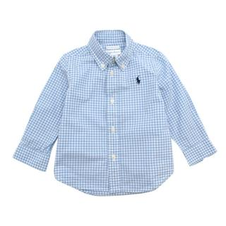 Ralph Lauren Blue Gingham Cotton Long-Sleeve Shirt