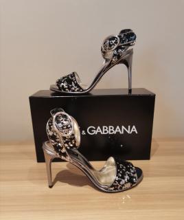 Dolce & Gabbana Black & Silver Sequin Sandals