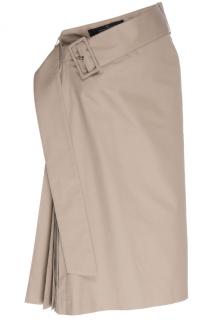 ROKH Women's Beige Belted Pleat Skirt