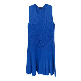 Roberto Cavalli Blue Lace Detailed Sleeveless Dress