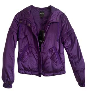 Costume National CNC Purple Satin Hooded Bomber