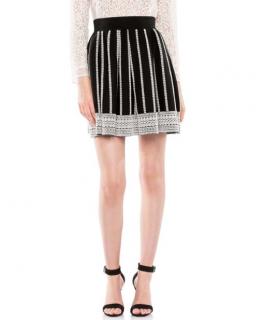 Maje Black Jacquard Mini Skater Skirt