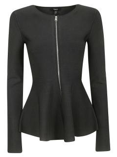 Theory Black Stretch Peplum Zip Front Jacket