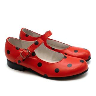 Comme des Garcons Girl Red Polka Dot Mary Jane Leather Flats
