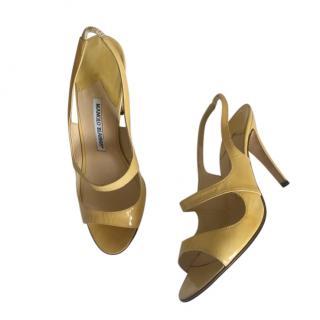 Manolo Blahnik Yellow Patent Cut-Out Sandals