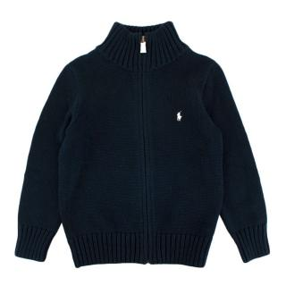 Polo Ralph Lauren Navy Cotton Knit Zip Jumper