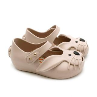 Mini Melissa Beige Bunny Peep-Toe Jelly Shoes
