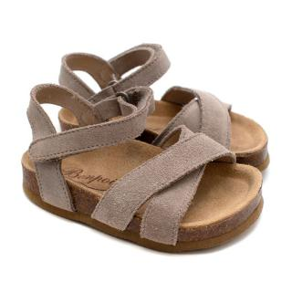 Bonpoint Grey Suede First Steps Velcro Sandals