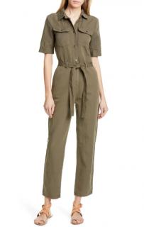 Frame Khaki Belted Cotton & Linen Jumpsui