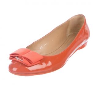 Ferragamo My Cherie Orange Patent Leather Flats
