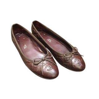 Chanel Chocolate Brown Quilted Leather Ballerinas