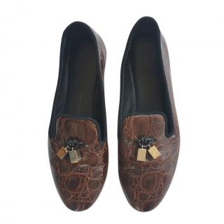 Giuseppe Zanotti Brown Croc Embossed Loafers
