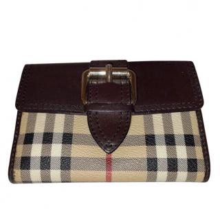 Burberry Leather Trimmed Haymarket Check Vintage Purse