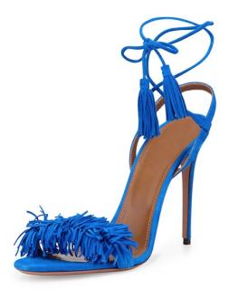 Aquazzura Blue Suede Wild Thing Fringed Sandals