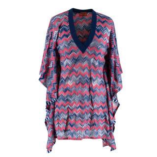 Missoni Mare Navy/Pink Chevron Crochet Poncho Cover-Up