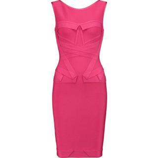 Herve Leger Pink Panelled Bandage Dress