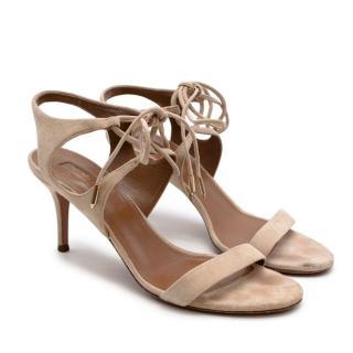 Aquazzura Nude Suede Leather Ankle-Tie Colette Sandal