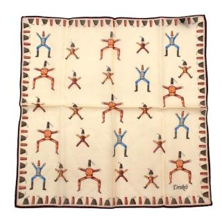 Drakes Cream Marionette Wool & Silk Handkerchief