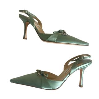 Jimmy Choo Green Satin Slingback Sandals