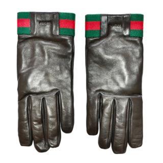 Gucci Black leather Web Striped Logo gloves.