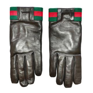 Gucci Black leather Web Striped Logo gloves