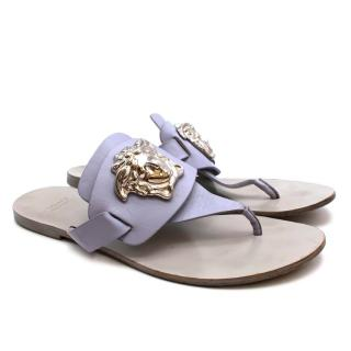 Versace Silver Medusa Palazzo Lavender Leather Thong Sandal