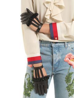 Gucci Ruffled Black Leather Gloves W/ Wrist Strap.