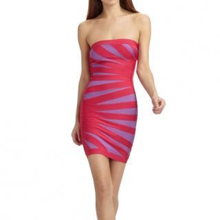 Herve Leger Pink & Purple Bianca Strapless Bandage Dress