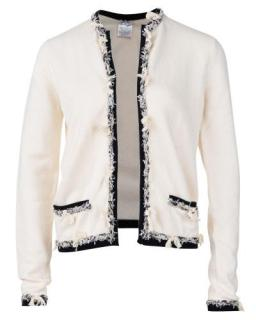 Chanel Ivory Tweed Trimmed Cashmere Cardigan