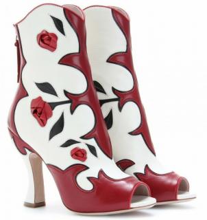 Miu Miu Red & White Floral Cowboy Boots