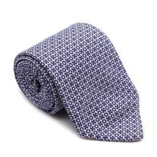 Petronius Blue Floral Silk & Cotton Blend Tie