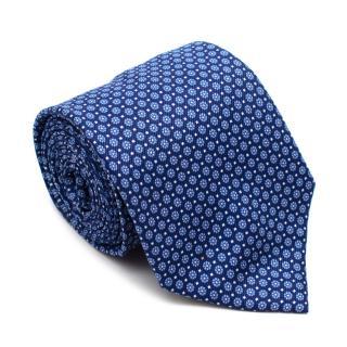 Boggi Blue Floral Printed Silk Tie