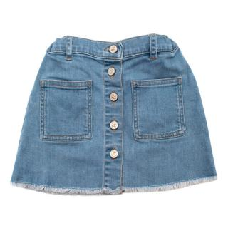 Bonpoint Blue Cotton Denim Buttoned Skirt