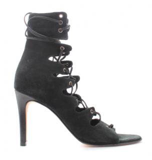 Maje Black Suede Lace-Up Sandals