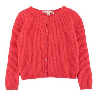 Bonpoint Pink Cashmere Knit Cardigan