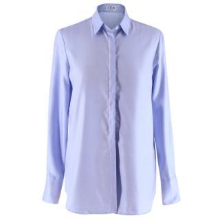 PDN London Blue Cotton Striped Poplin Shirt