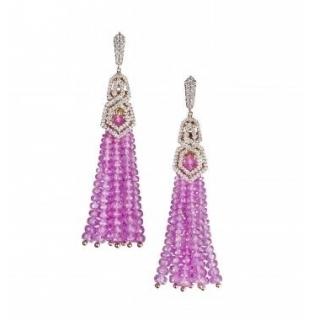 William & Son 18ct Rose Gold Pink Sapphire & Diamond Tassel Earrings
