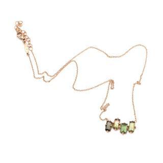 Jacquie Aiche 14K Rose Gold Green Tourmaline Baguette Necklace