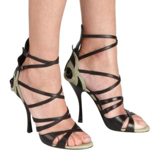 Bottega Veneta Black & Green Butterfly Sandals