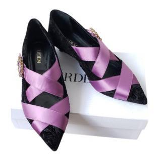 Erdem Black Velvet Kitten Heel Ribbon Detail Pumps