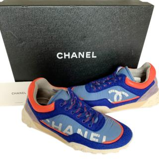 Chanel Blue Neon Trimmed Nylon & Suede Sneakers
