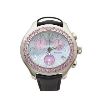 Montega Pink Sapphire 43mm Chronograph Ladies Wristwatch