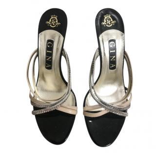 Gina Satin & Crystal Crossover Mules