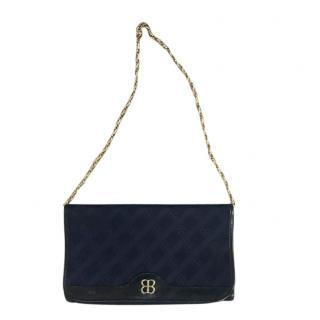Balenciaga Vintage Satin Two-Tone Monogram Shoulder Bag