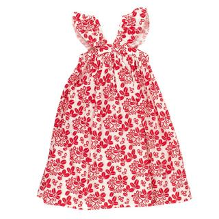 Bonpoint Kids 3Y Red & White Pattern Ruffle Maxi Dress