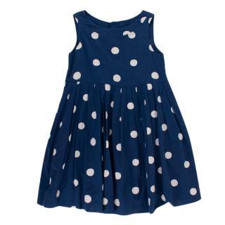 Bonpoint Navy Polka Dot Cotton Pleated Sleeveless Dress