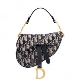 Dior Blue Oblique Mini Saddle Bag